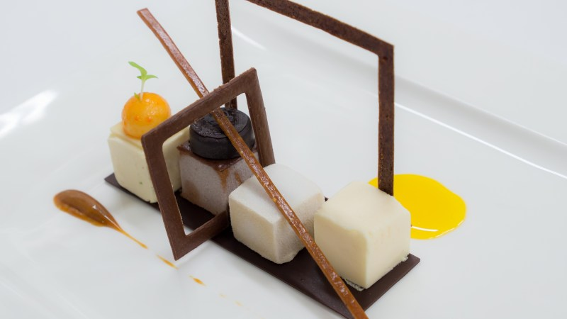 Roger van Damme's signature dessert: a geometric melange of sweet textures and tastes.