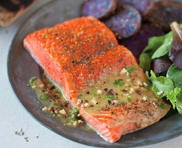 Serve this cedar-plank grilled salmon from famed Ivar's in Seattle with a nutty, tangy vinaigrette.