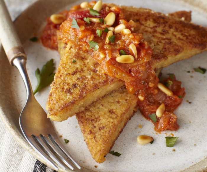 seared polenta with tomato sauce