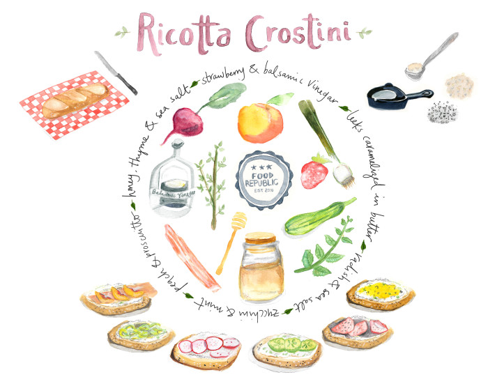 Illustrated Guide: How To Make A Ricotta Crostini, Plus 5 Essential Toppings