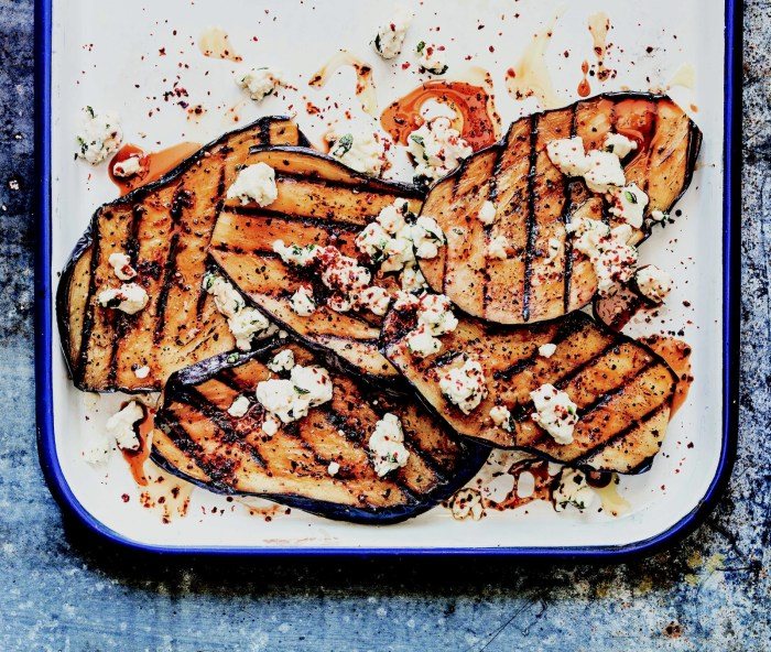 Grilled Eggplant With Feta And Pomegranate Molasses Recipe ...