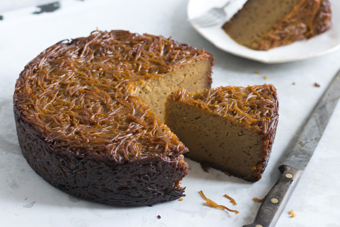 This kugel packs a wallop of heat thanks to a pile of black pepper.