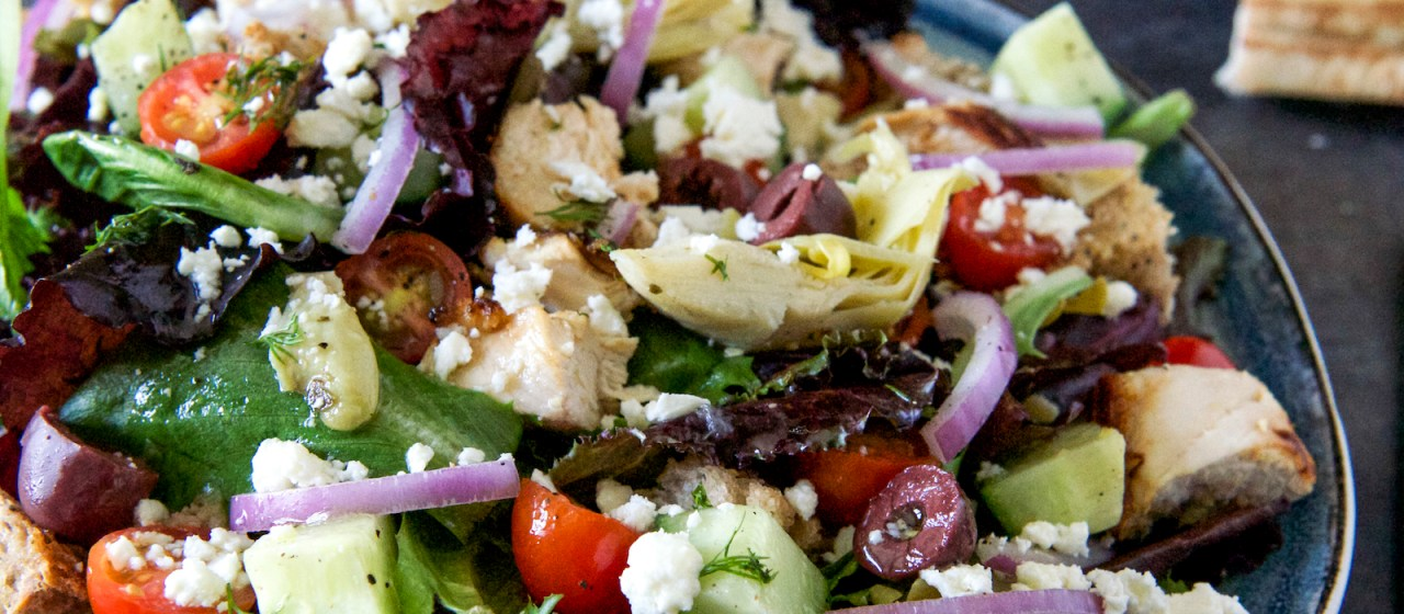 Greek Panzanella greek chicken panzanella with honey-lemon vinaigrette recipe
