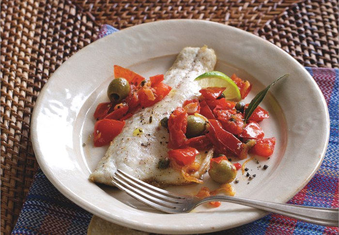Expand your culinary horizons with a Veracruzana preparation of sea bass, marinated in lime juice and baked in a sauce of tomatoes, olives and capers.