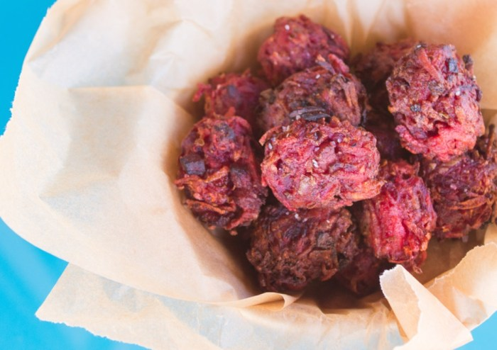 Red flannel hash tater tots, where potatoes and corned beef meet — in tot form.