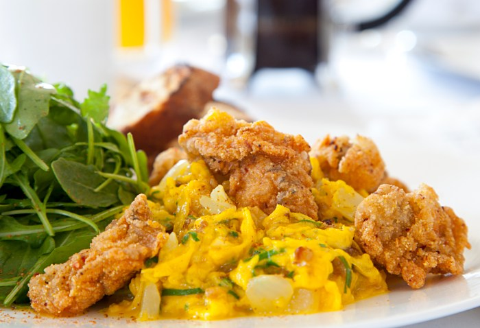 Nothing goes with soft scrambled eggs quite like crunchy fried oysters with a peppery kick.