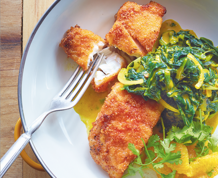 Red lentil crusted grouper with saag recipe food republic for Grouper fish recipes