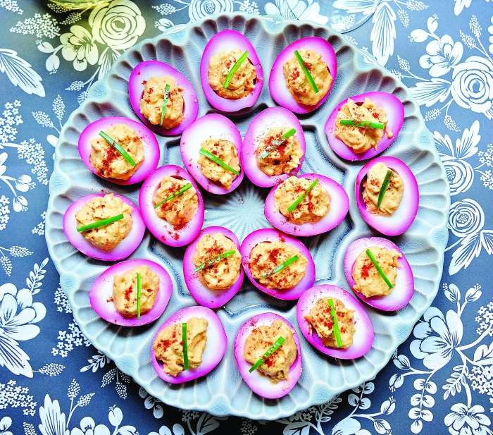 These beet pickled devilish eggs are almost too pretty to eat. Almost.