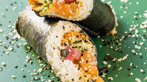 The sushi burrito, or in other words, an uncut roll.