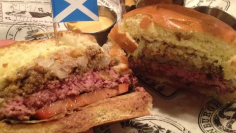 The Scottish burger is topped with haggis, Monterey Jack cheese and golden turnip frazzles.