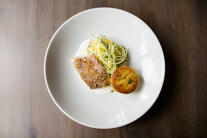 "Chef Dominic Rice's local red snapper is accompanied by zucchini ""noodles"" and a creamy spoon bread. (Photo credit: SLATE)"