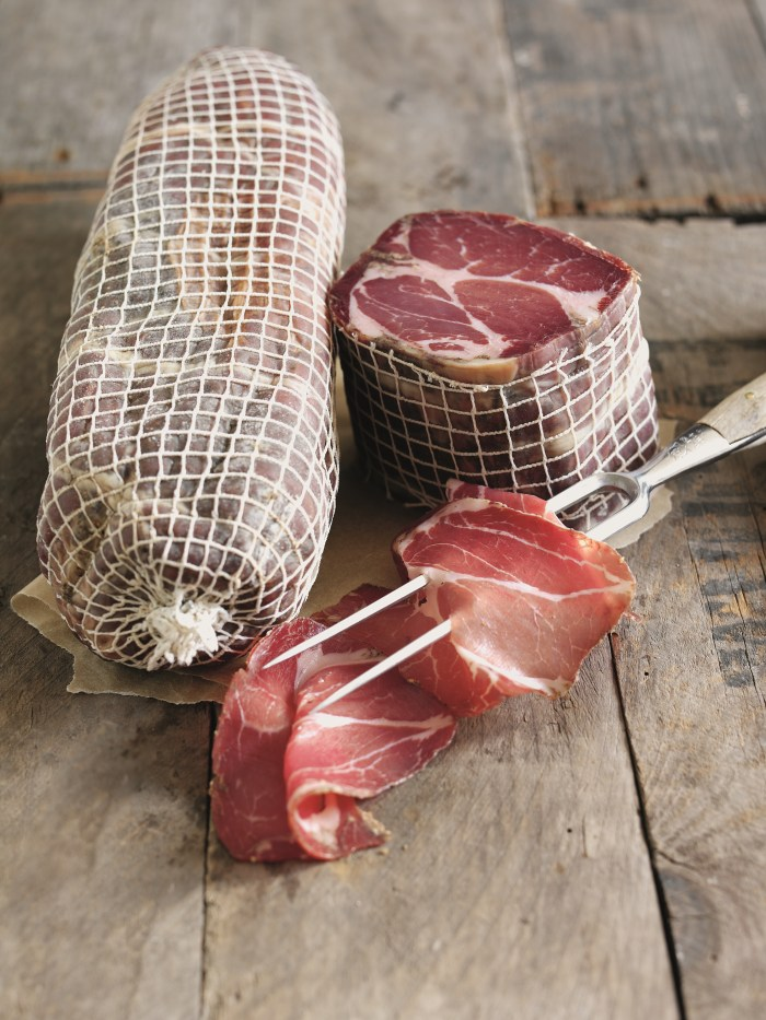 Air-dried salamis, like this coppa, are a staple at Trealy farm.