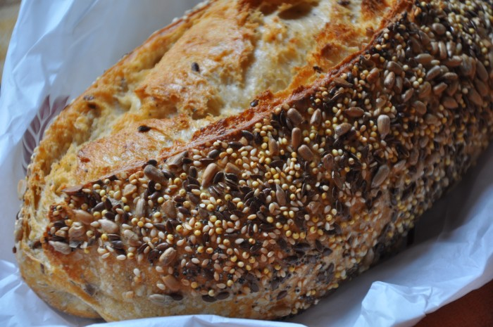 A generous amount of seeds on the crust of Dominique Saibron's pain aux céréales. (Photos: Cat Lau.)