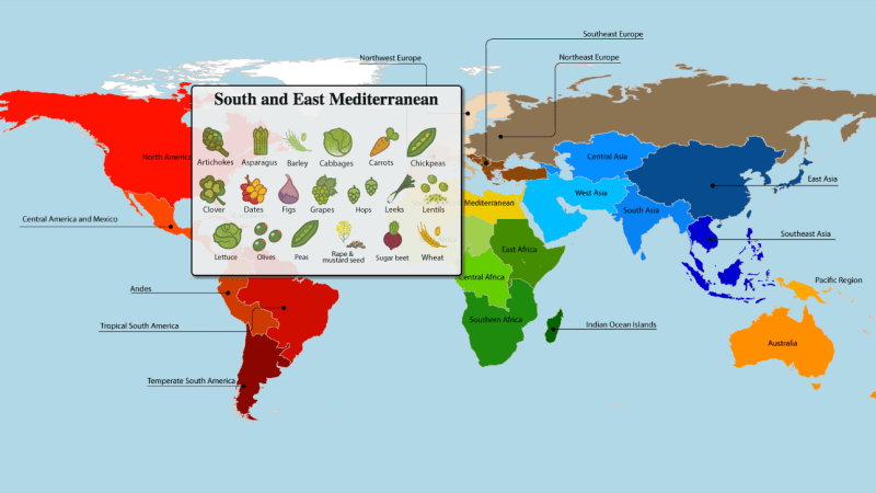 The south and east Mediterranean is home to chickpeas, artichokes, beets and more. (Graphic: International Center for Tropical Agriculture.)