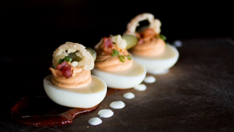 The deviled eggs of the day at Beckett's Table are sourced from local Hickmans Family Farms. (Photo courtesy of Beckett's Table.)