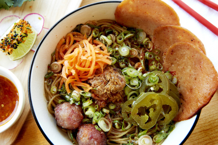 The Honey Paw's Thai Boat Noodles feature Vietnamese Mortadella, pork meatballs, and spicy Thai bird eye chili sambal. (Photo credit: Zack Bowen/Knack Factory)