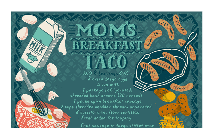Never forget Mom's recipe for breakfast tacos again with these beautiful prints. (Graphic courtesy of First Pancake Studio.)