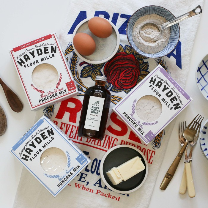 Hayden Flour Mills offers four heritage baking mixes: White Sonora Pancake Mix, Red Fife Pancake Mix, Purple Barley Pancake Mix, and Heritage Cornbread Mix. (Photo credit: Hayden Flour Mills)