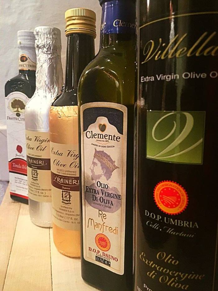Olive oils from each of the five major olive oil-producing regions of Italy. (Photo: Il Palio/Facebook.)