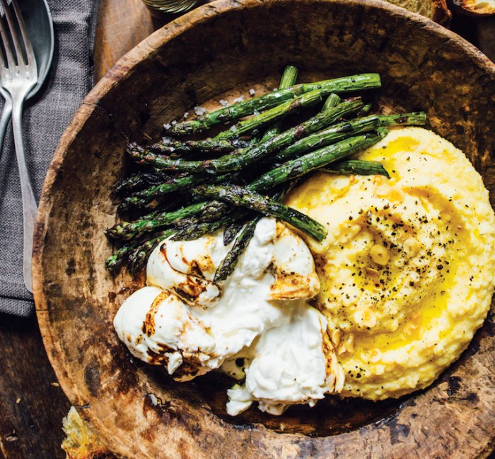 Asparagus polenta with creamy burrata is what 39 s for dinner for Difference between dinner supper