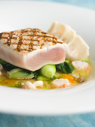 Blue Water Cafe's grilled albacore tuna with baby bok choy, edamame and shimeji mushrooms. (Photo: John Sherlock.)