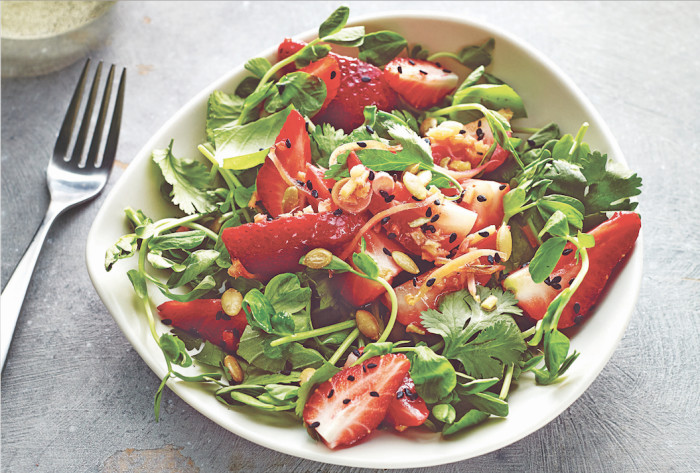 Strawberry And Pea Shoot Salad