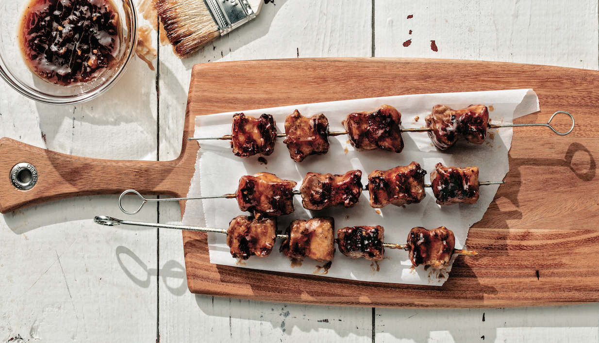 Plum Glazed Pork Belly Kebabs