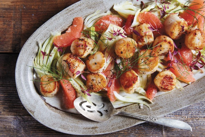seared scallops with grapefruit