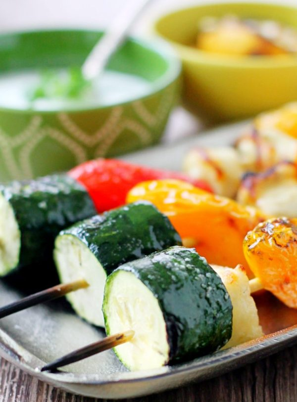 Veggie Halloumi Kebabs with Creamy Grilled Lemon Dip by Foodtastic Mom
