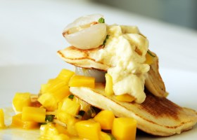 Background Ricotta Hotcakes with Lychee Salad