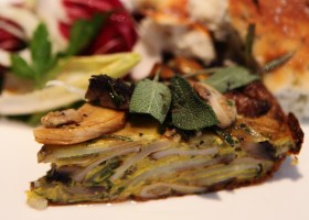 Background MUSHROOM, SAGE AND POTATO TORTILLA