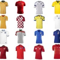 Pictures of every countries' home & away football shirt for the Brazil 2014 football World Cup. Images