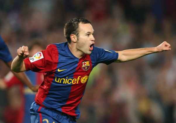 Andrés Iniesta Luján (born 11 May 1984) is a Spanish footballer who plays as a central midfielder for La Liga club FC Barcelona and the Spanish national team. Iniesta came through La Masia, the Barcelona youth academy - after an early emigration from his birthplace and impressed from an early age. He made his first-team debut in 2002, aged 18. He began playing regularly during the 2004–05 season, and has remained in the side ever since. He was an integral part of the Barcelona side in 2009, the only time which a club has achieved six titles in two seasons.