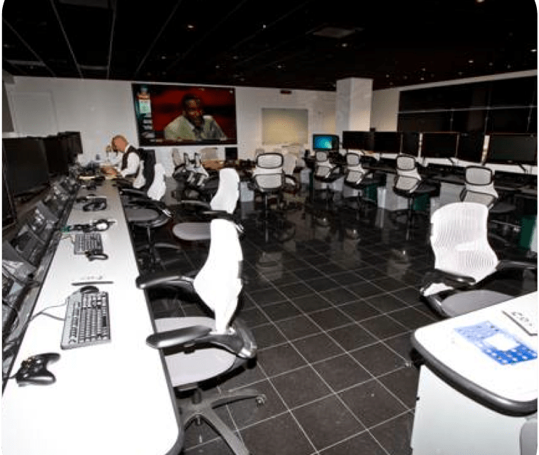The NFL officiating department command center in New York City.