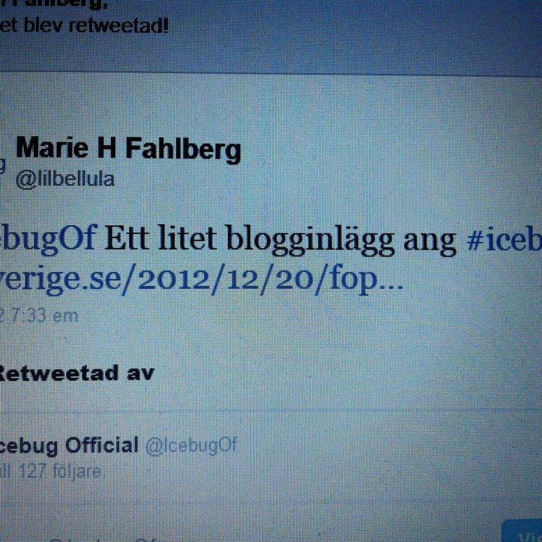 Fick en RT på Twitter av Icebugsföretaget kul!