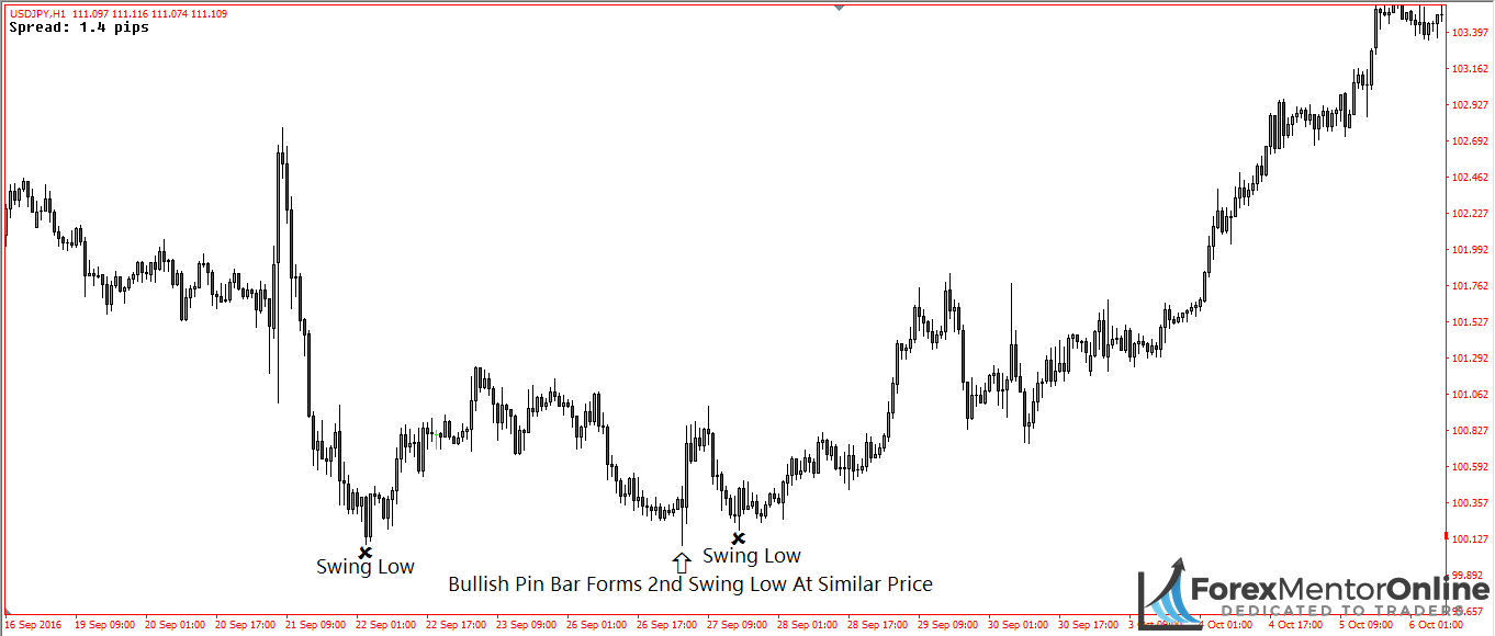 image of bullish pin bar creating swing low
