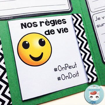 "French Back-to-school Lapbook EMOJI: the perfect activity for ""la rentrée""! This French lapbook has writing prompts, foldable flaps, and more – with lots of emojis :D Have kids writing about the classroom rules (règles de vie) using this matchbox foldable flap!"
