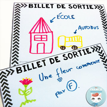 French Exit Tickets (les billets de sortie) are great formative assessment that super easy to implement, They work great even in Kindergarten! Get your students to take ownership of their own learning. All you need to get started tomorrow is paper and question/prompts! Blog post includes a free printable!