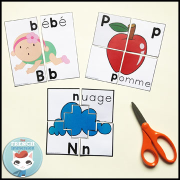 French Alphabet Centers - letter puzzles: matching lowercase to uppercase letters and vice-versa, and identifying initial letters of words. Centres de littératie - l'alphabet.