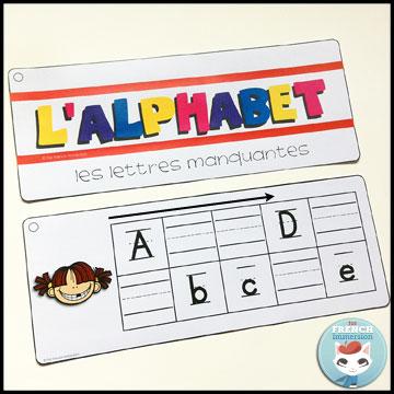 French Alphabet Centers - writing practice strips: tracing the missing letters! Centres de littératie - l'alphabet.