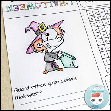 French Halloween Freebies and Videos: free foldable mini-book – en français