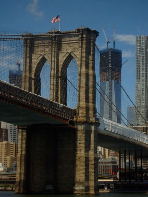 East River — the Brooklyn Bridge looking toward Manhattan