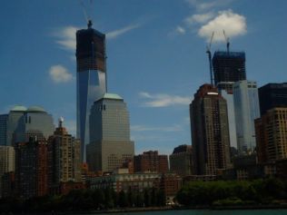 The new twin towers looking north from New York Harbor