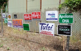 2012 Campaign signs at Lihu`e Mill. Photo by Anne E. O'Malley