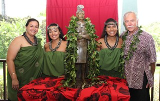 From left to right, Kumu hula Leina'ala Pavao, Jayna Shaffer, Brylyn Aiwohi and Saim Caglayan are seen here by King Kaumuali'i's statue unveiled at a private event Aug. 29.