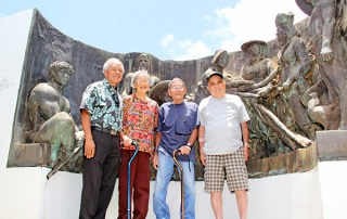 From left to right, Niles Kagayama, Setsuko Kobayashi and husband Toshio Kobayashi, and Toshihiro Otani at the Kōloa Monument.