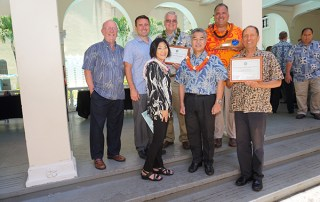 The Hawai'i Energy Policy Forum recognized Kaua'i's exemplary planning efforts. Left to right, HEPF co-chair Mike Hamnett; Kaua'i Island Utilities Cooperative Power Supply Manager Brad Rockwell; HEPF co-chair Sharon Moriwaki; KIUC President and CEO David Bissell, Gov. David Ige, Mayor Bernard Carvalho Jr., and County of Kaua'i Transportation Planner Lee Steinmetz. Contributed photo