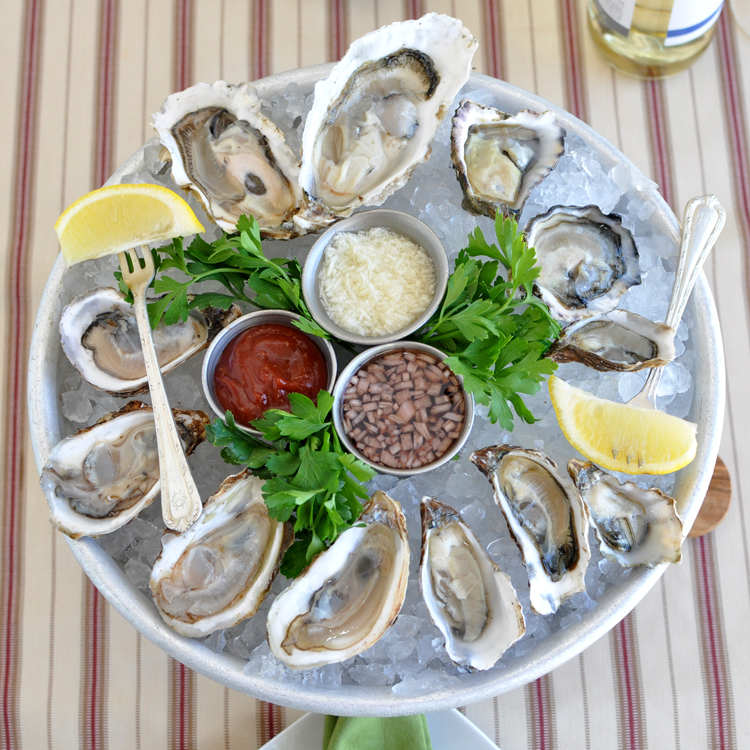 Platter of raw oysters