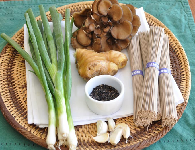 Some of the ingredients for the noodles