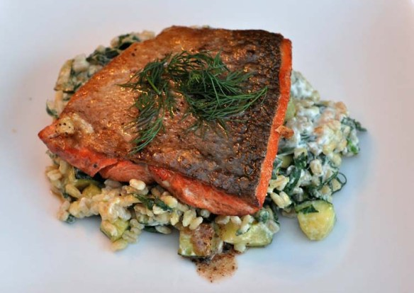 Blue Apron Lemon Butter Salmon with creamy barley and zucchini.